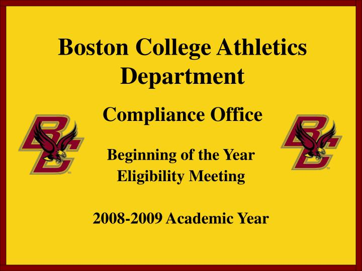 boston college athletics department compliance office n.
