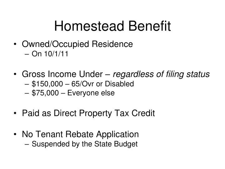 Homestead Benefit