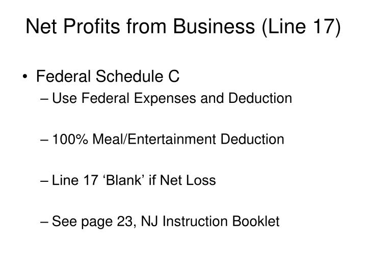 Net Profits from Business (Line 17)