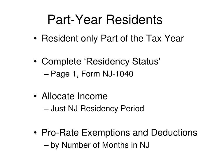 Part-Year Residents
