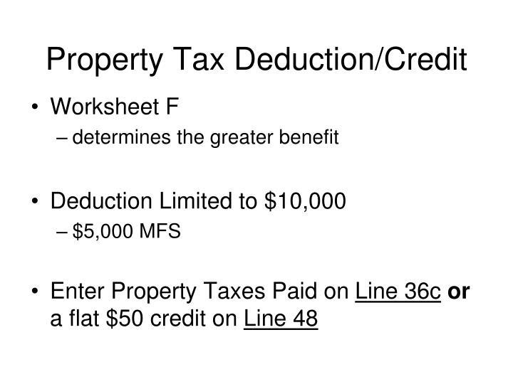 Property Tax Deduction/Credit