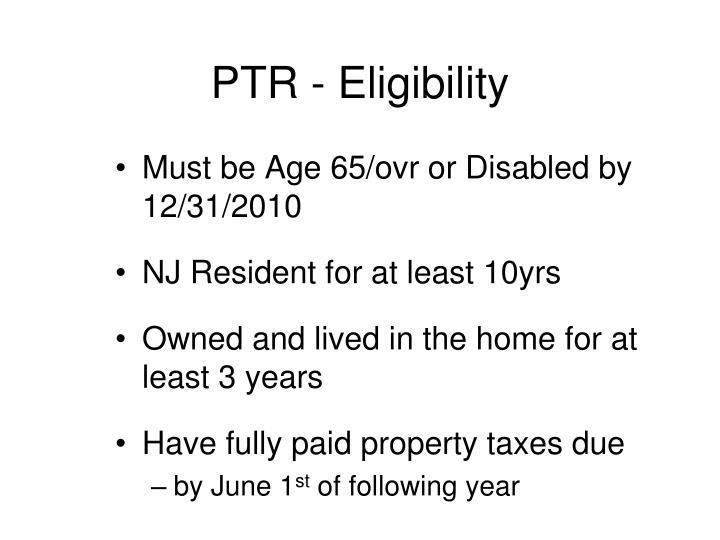 PTR - Eligibility