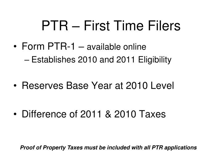 PTR – First Time Filers