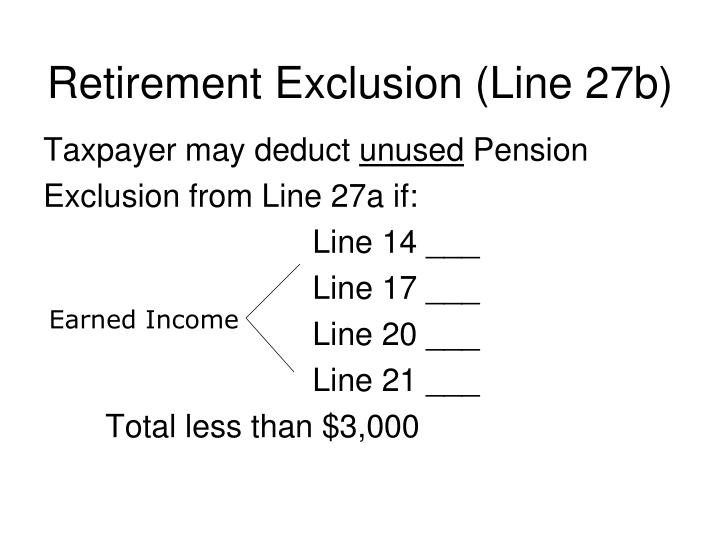 Retirement Exclusion (Line 27b)