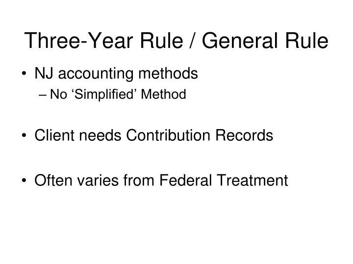 Three-Year Rule / General Rule