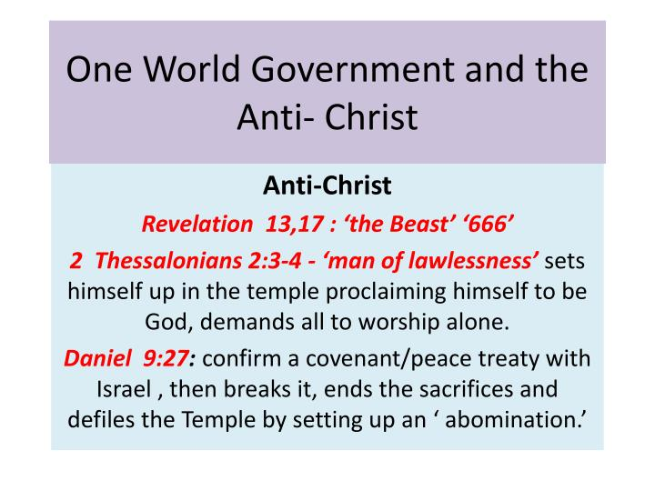 one world government and the anti christ n.
