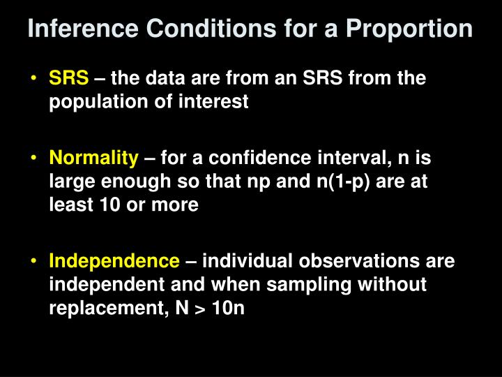 Inference Conditions for a Proportion