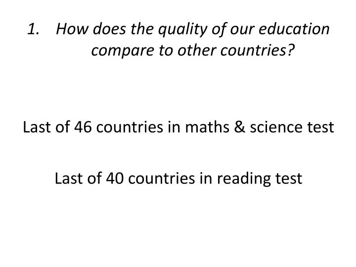 How does the quality of our education compare to other countries?