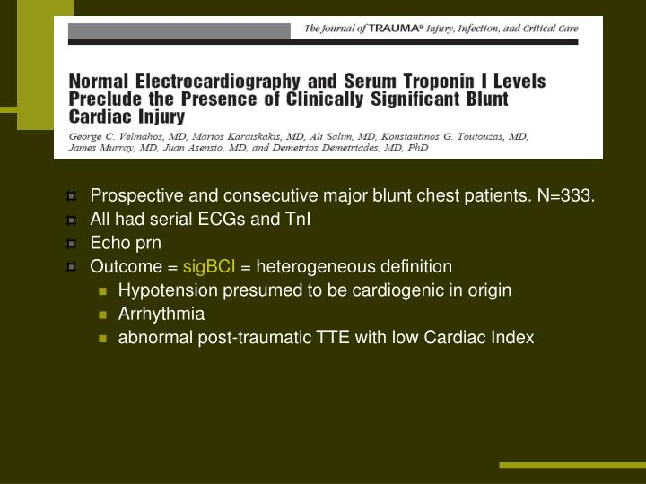Prospective and consecutive major blunt chest patients. N=333.