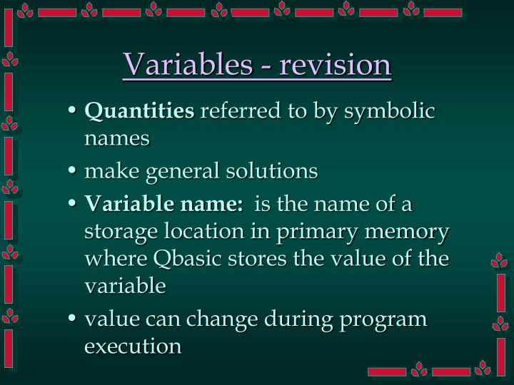 Variables - revision