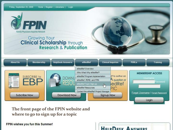 The front page of the FPIN website and where to go to sign up for a topic