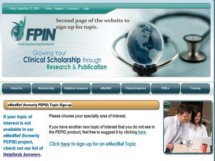 Second page of the website to sign up for topic.