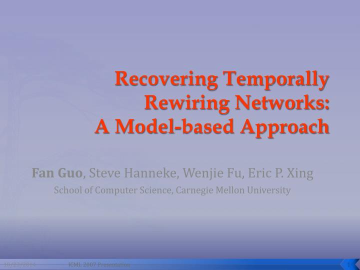 recovering temporally rewiring networks a model based approach n.