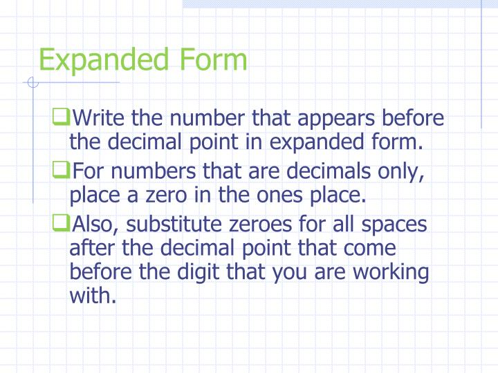 Writing Numbers In Expanded Form With Decimals Term Paper Academic