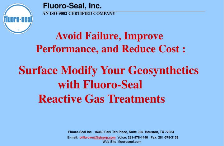 avoid failure improve performance and reduce cost n.