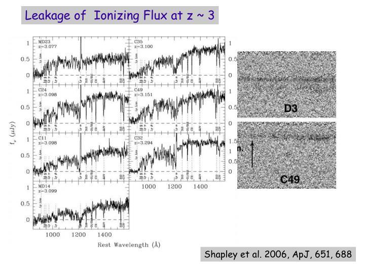 Leakage of  Ionizing Flux at z ~ 3