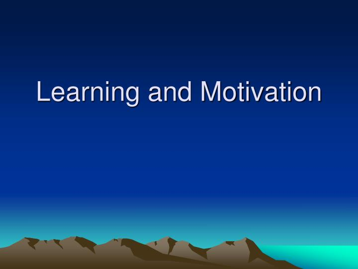 learning and motivation n.