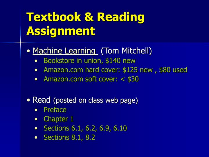 Textbook & Reading Assignment