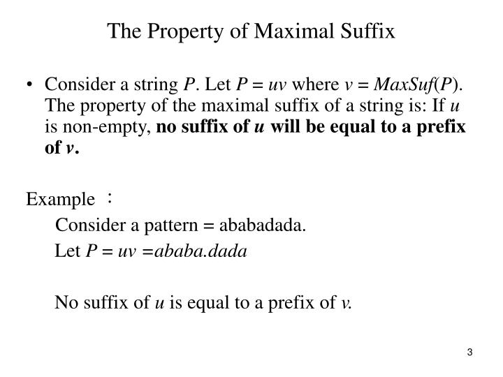 The property of maximal suffix