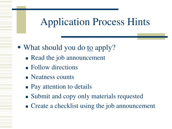 Application process hints