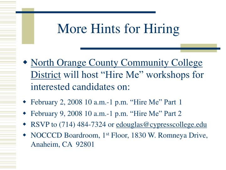 More Hints for Hiring