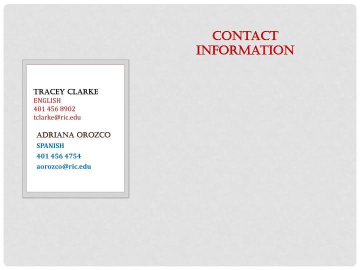 Tracey clarke english 401 456 8902 tclarke@ric edu