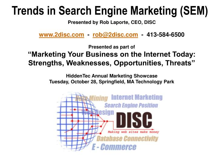 trends in search engine marketing sem n.