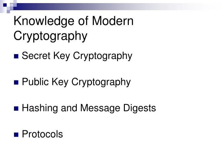 Knowledge of Modern Cryptography
