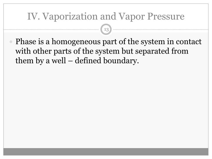 IV. Vaporization and Vapor Pressure