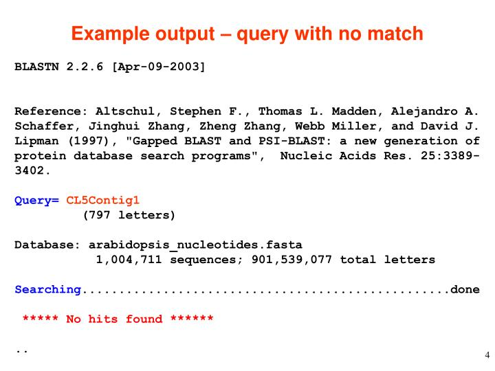 Example output – query with no match