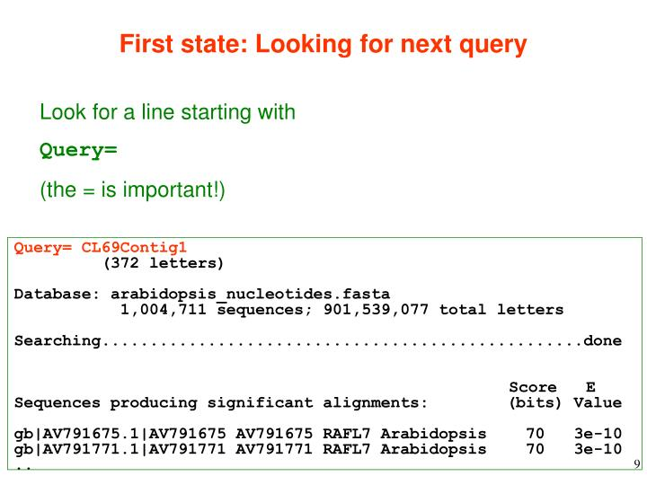 First state: Looking for next query