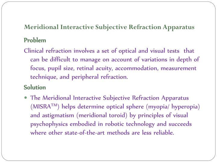 meridional interactive subjective refraction apparatus