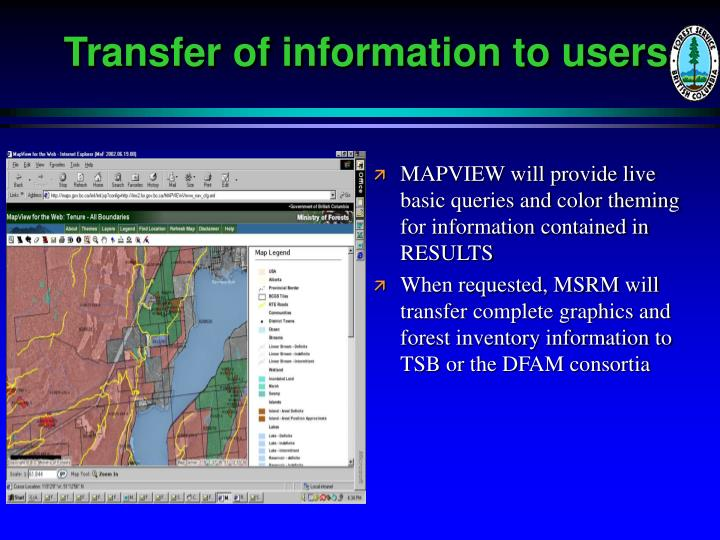 Transfer of information to users