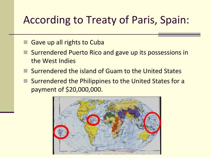 According to Treaty of Paris, Spain: