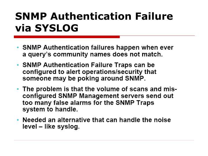 SNMP Authentication Failure