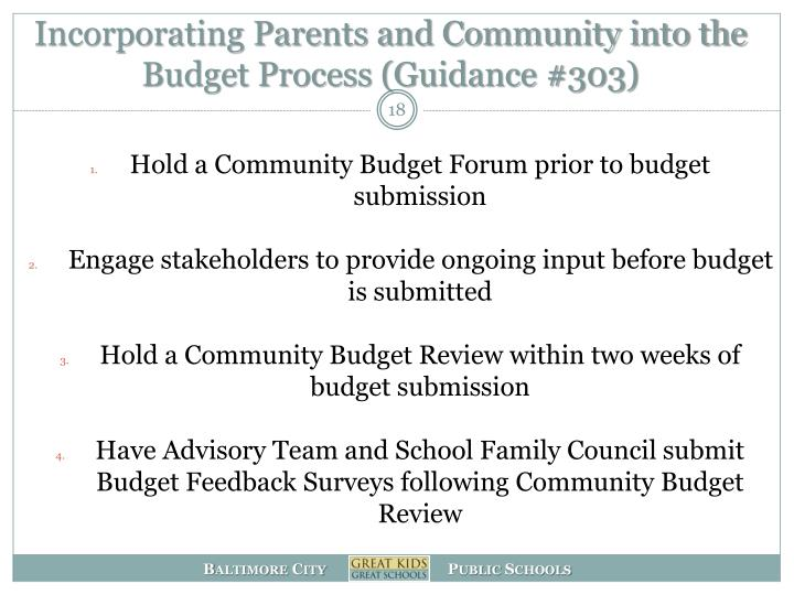 Incorporating Parents and Community into the Budget Process (Guidance #303)
