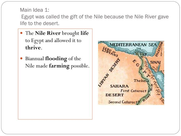 the gift of the nile river The gift of the river nile done by: priscilla gan, 1pe (14) table of contents: introduction -page 1 its role in ancient egypt-economically -page 2.