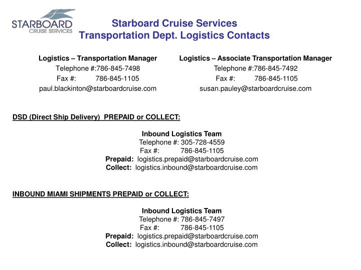 starboard cruise services transportation dept logistics contacts n.