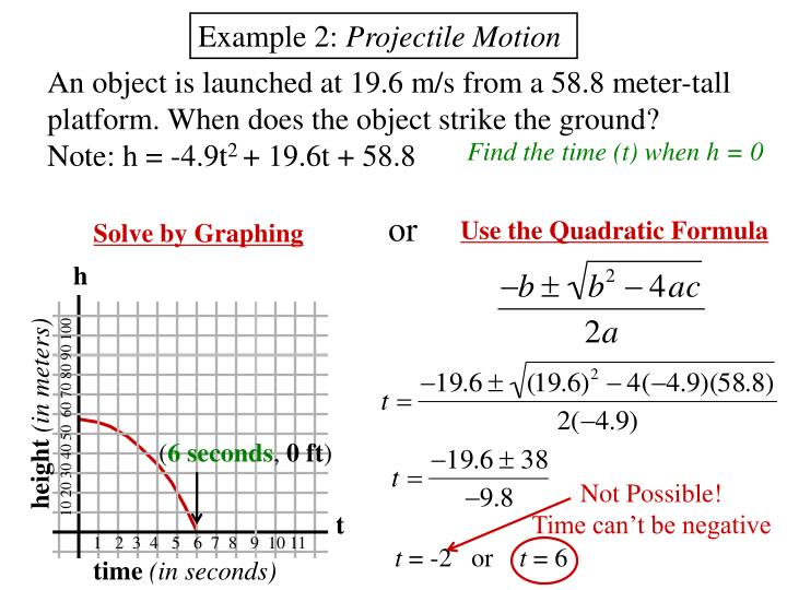 Quadratic Equation Examples Word Physics