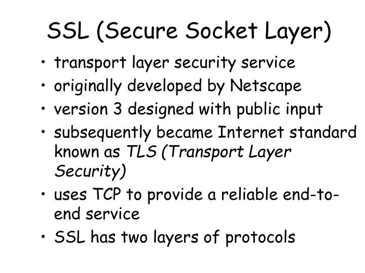 Ssl secure socket layer