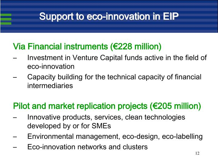 Support to eco-innovation in EIP