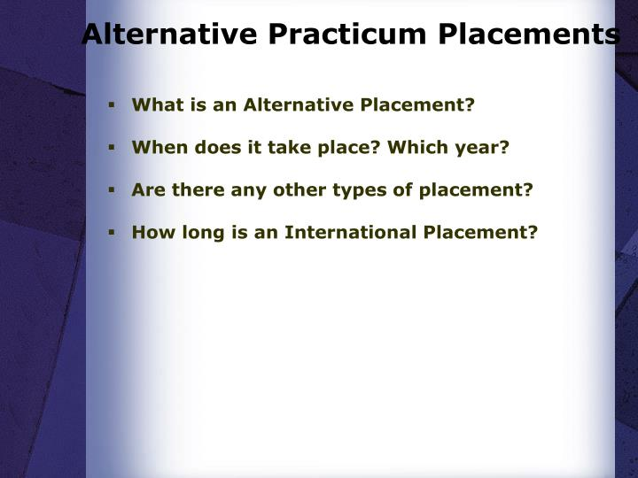 Alternative Practicum Placements