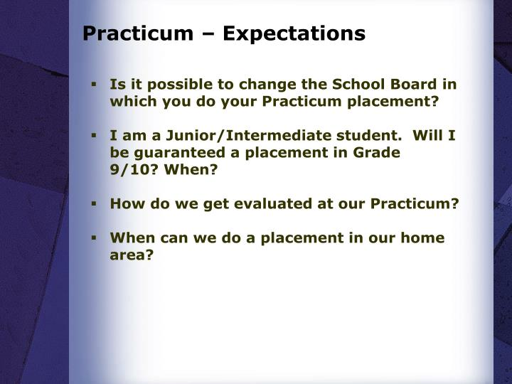 Practicum – Expectations