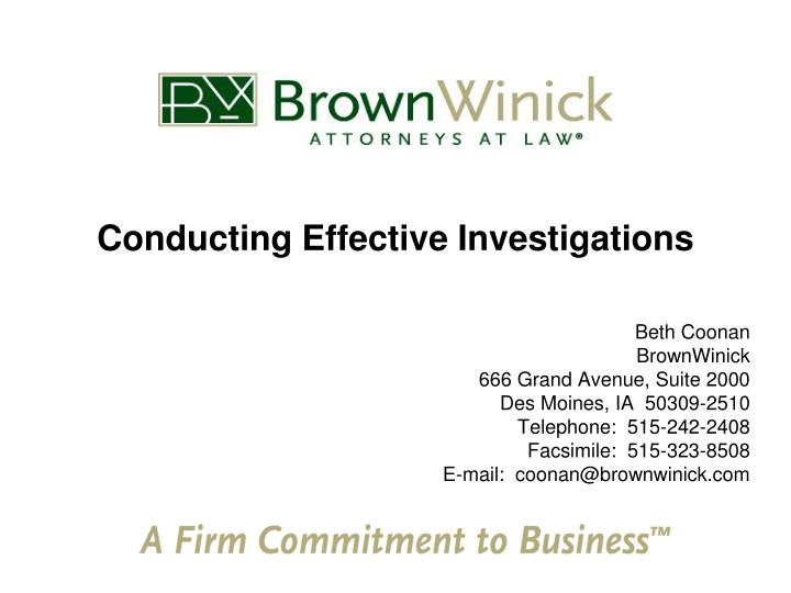 conducting effective investigations n.