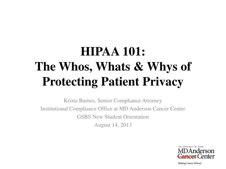 hipaa 101 the whos whats whys of protecting patient privacy n.