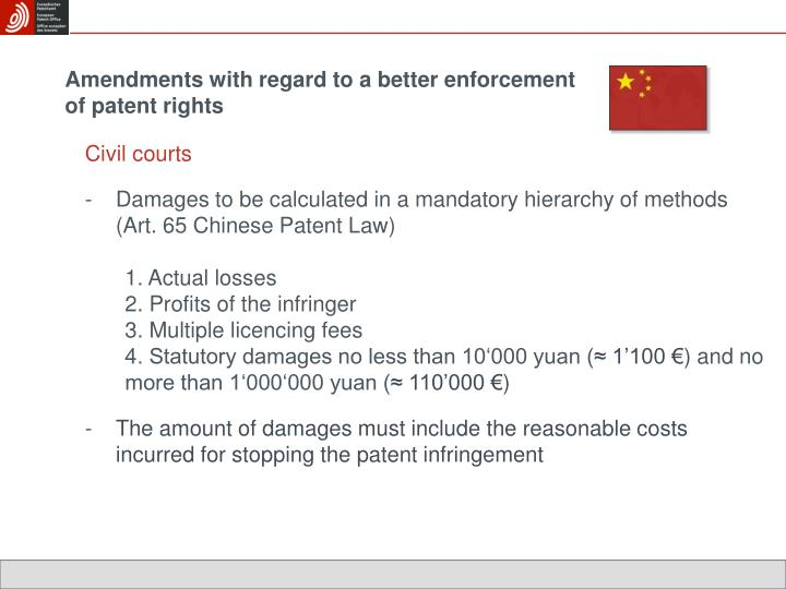 Amendments with regard to a better enforcement of patent rights