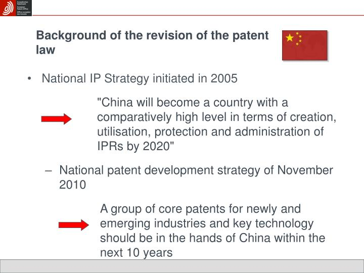 Background of the revision of the patent law