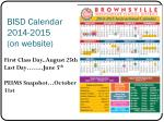 bisd calendar 2014 2015 on website