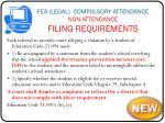 fea legal compulsory attendance non attendance filing requirements