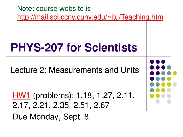 phys 207 for scientists n.